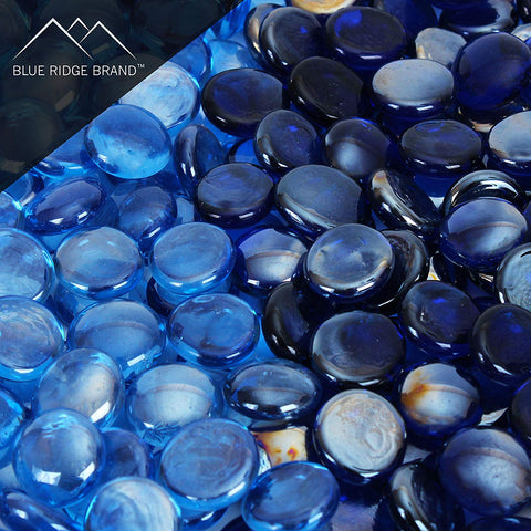 Reflective Fire Glass Beads Blend - Light Blue and Dark Blue