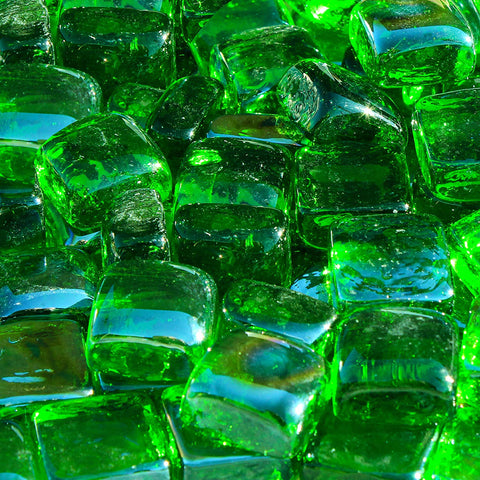 Green Reflective Fire Glass Cubes