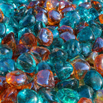 Aqua and Pink Champagne Blend Reflective Fire Glass Diamonds