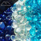 Reflective Tempered Fire Glass Bead Blend - Aqua Blue, Dark Blue, Clear