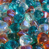 Aqua, Clear, and Pink Champagne Blend Reflective Fire Glass Diamonds