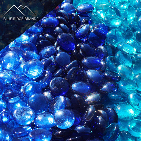 Blue Reflective Fire Glass Bead Blend - Aqua Blue, Dark Blue, Light Blue