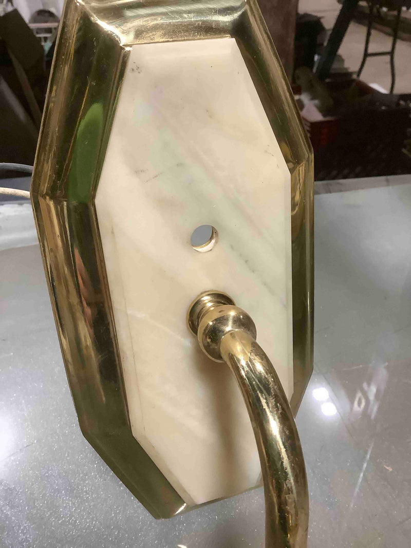 Vintage Brass Wall Mounted Sconce with Marble Plate