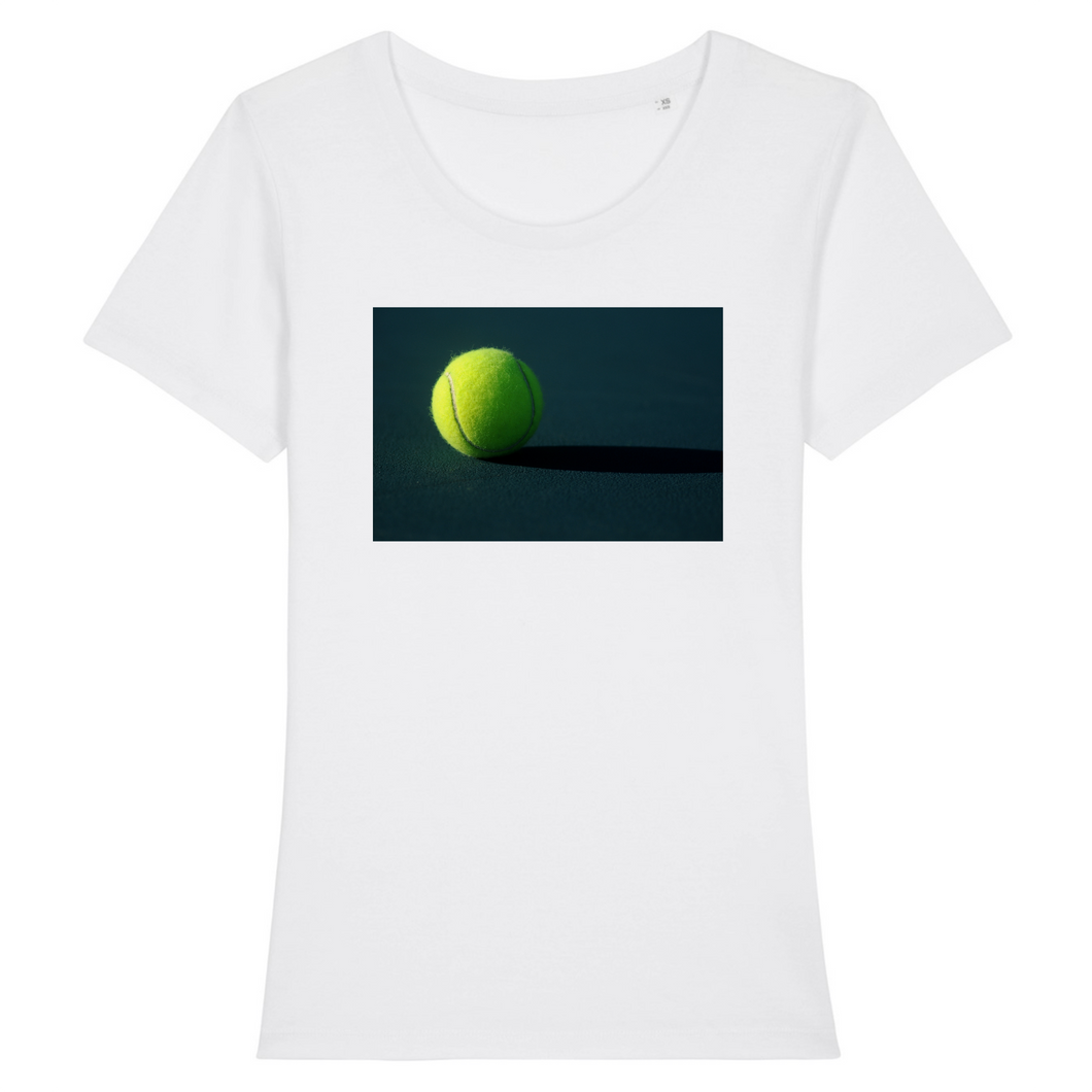 T-shirt Photo Balle de tennis fond dark Femme