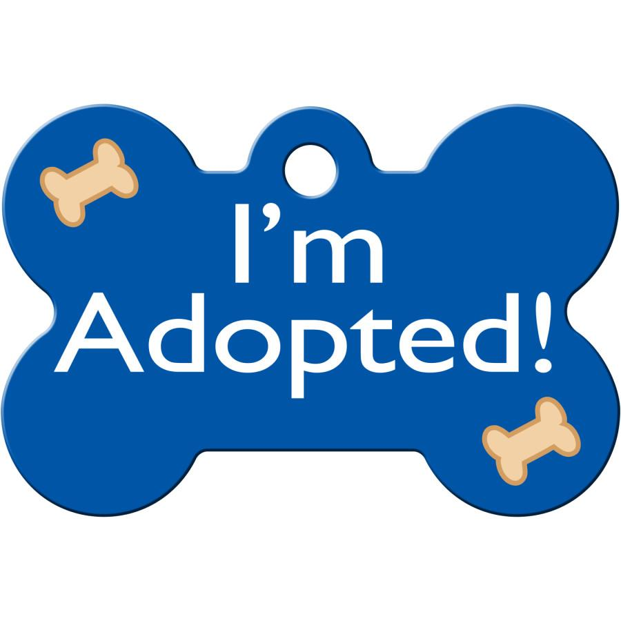 I'm Adopted Blue Pet ID Tag - Large Bone - Uptown Pups
