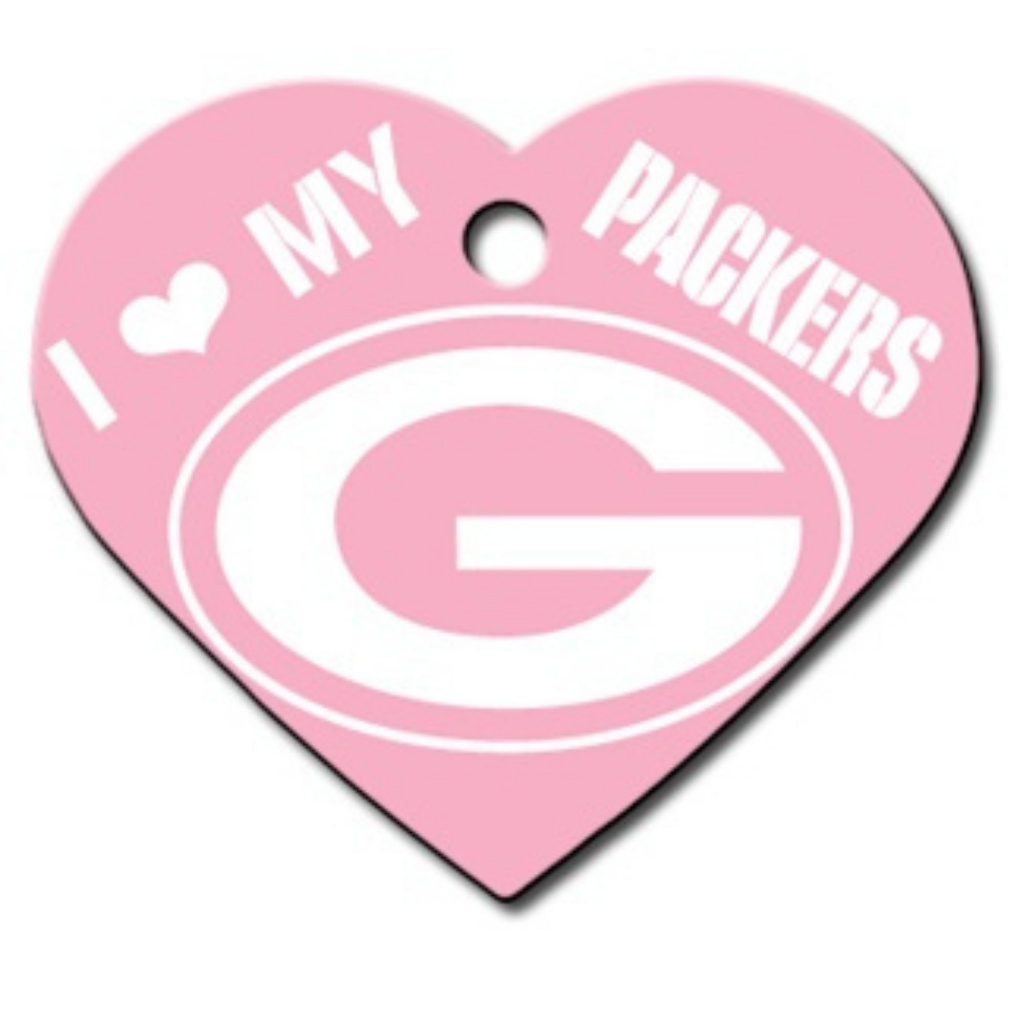 Green Bay Packers NFL Pet ID Tag - Large Heart