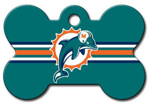 Miami Dolphins NFL Pet ID Tag - Large Bone - Uptown Pups