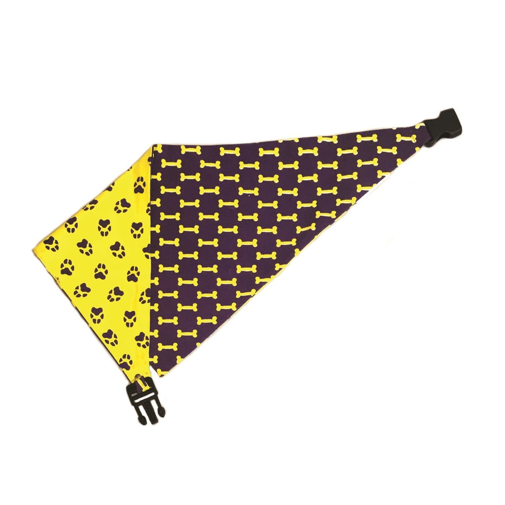 Uptown Pups Reversible Bandana - Yellow & Purple - Uptown Pups