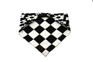Black White Flower with Checkerboard Reversible Dog Bandana