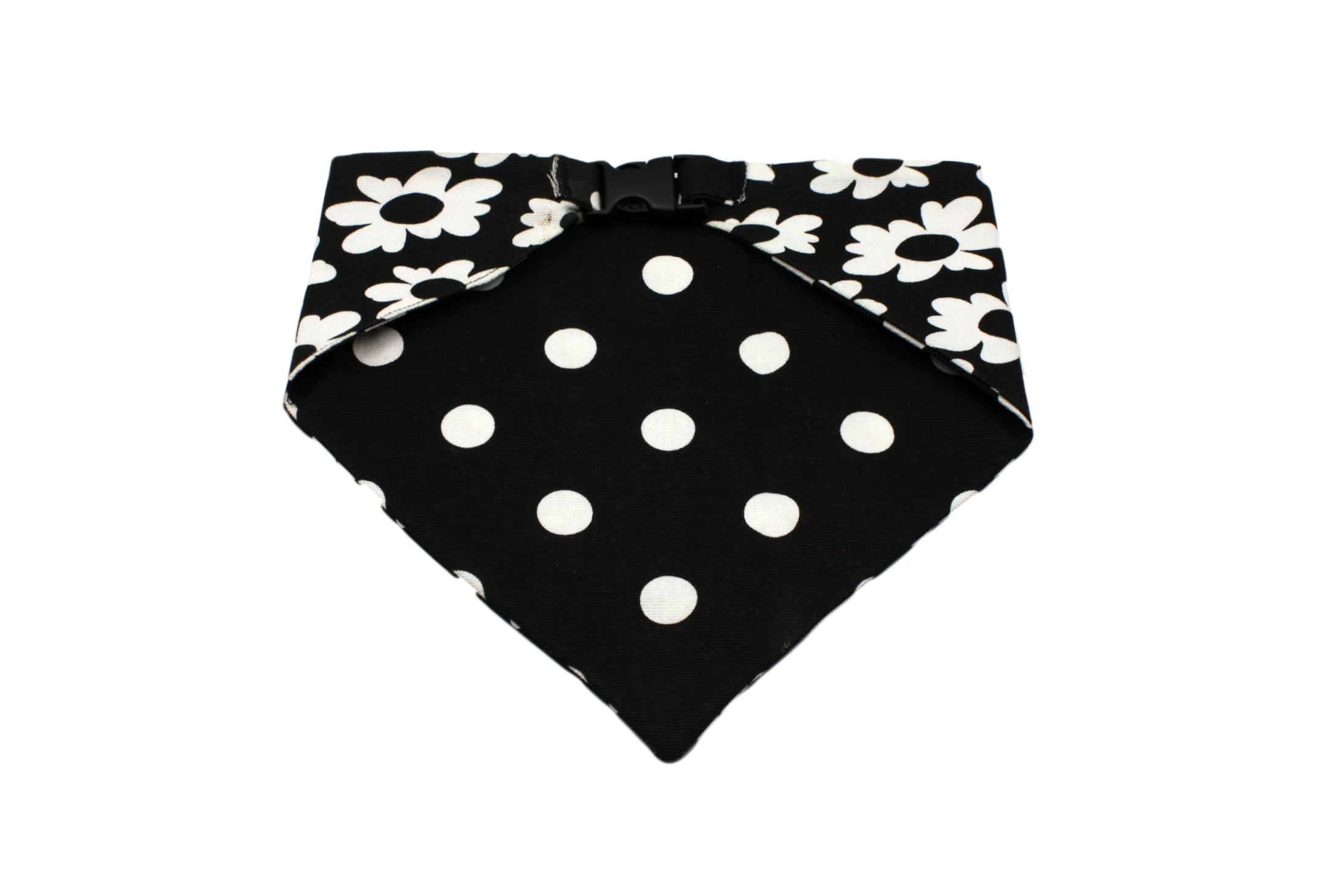 Uptown Pups Reversible Bandana - Black White Flower and Polka Dots