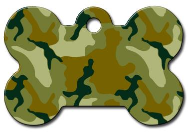 Camo Pet ID Tag - Large Bone - Uptown Pups