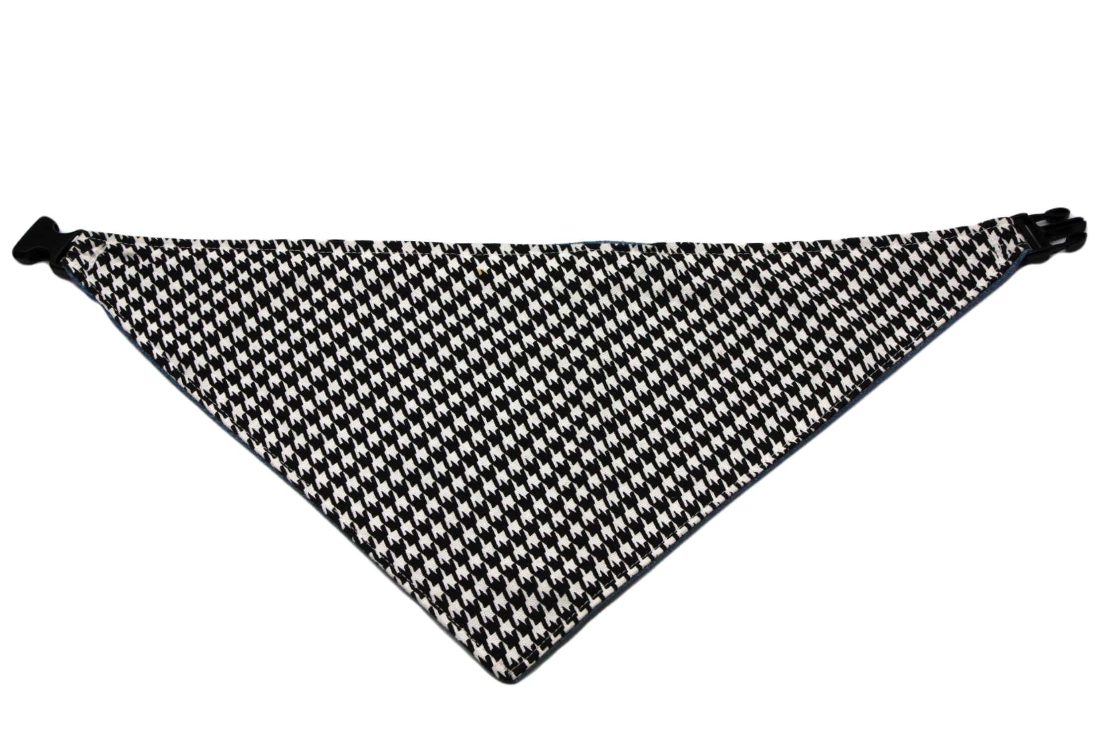 Uptown Pups Reversible Bandana - Black Houndstooth and Denim