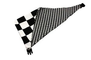 Black and White Houndstooth and Checkerboard Reversible Dog Bandana