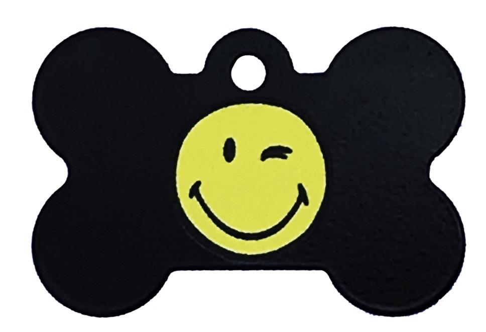 Smiley Face Pet ID Tag - Large Bone - Uptown Pups
