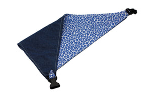 Blue Leopard Print Reversible Dog Bandana