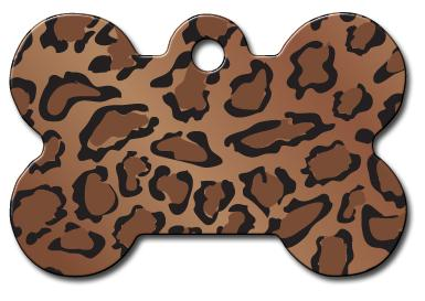 Leopard Print Brown and Black Pet ID Tag - Large Bone - Uptown Pups