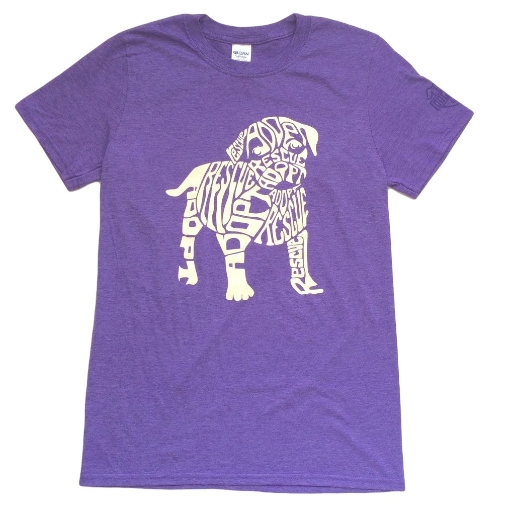 Dog N Frog Rescue Dog Heather Purple T-Shirt