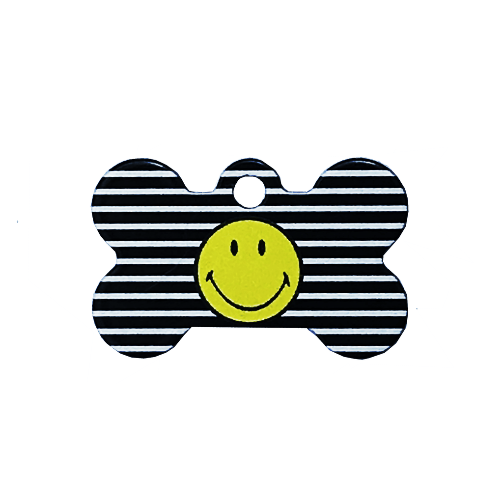 Striped Smiley Face Pet ID Tag - Small Bone - Uptown Pups