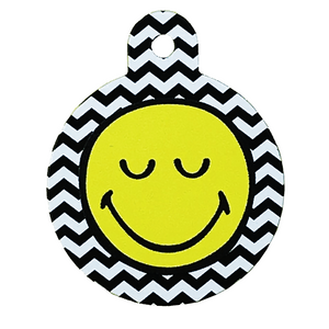 Smiley Face Zigzag Pet ID Tag Large Circle - Uptown Pups