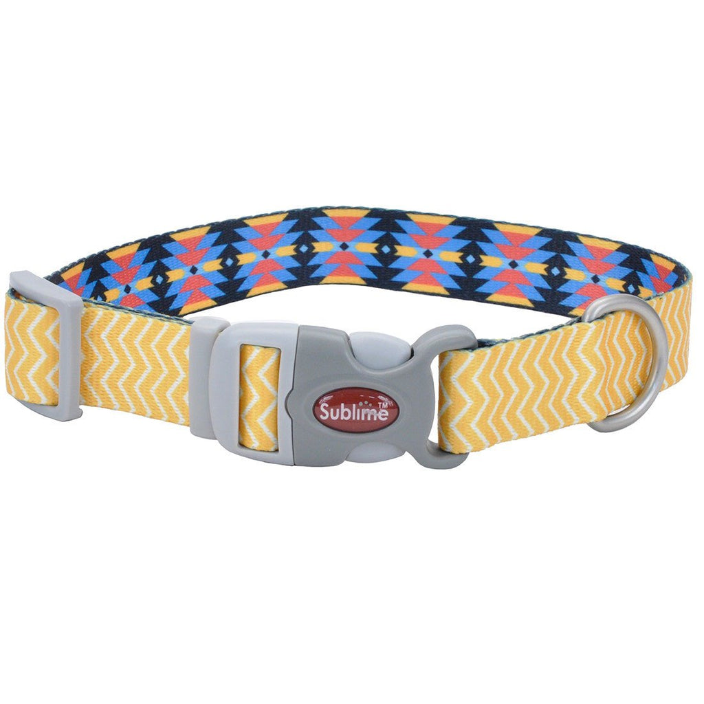 Sublime Yellow Chevron Aztec Adjustable Collar - Uptown Pups