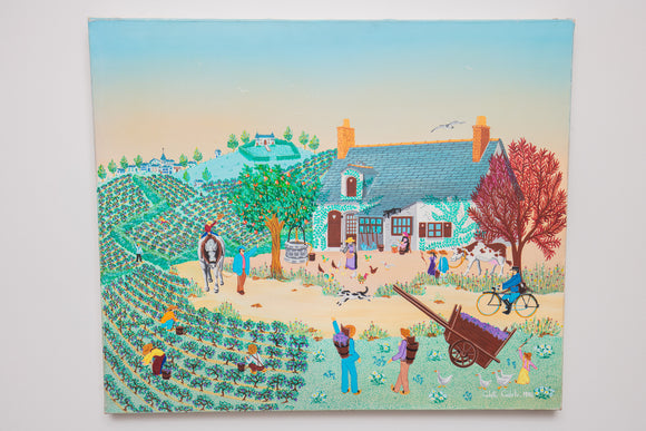 Colette Cedelle Acrylic on Canvas of Farm 1984 Scene Unframed