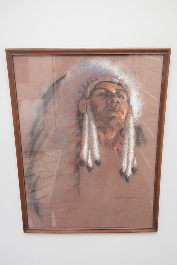 Ruth Newton Swain (1907-1999) Native American Chief Pastel
