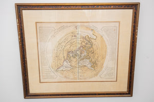 Phil Buache Planisphere Antique Framed Map Circa 1762