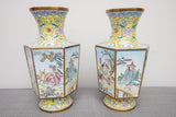 Chinese Yellow Enamel Hexagonal Figural Vase Pair, Vintage