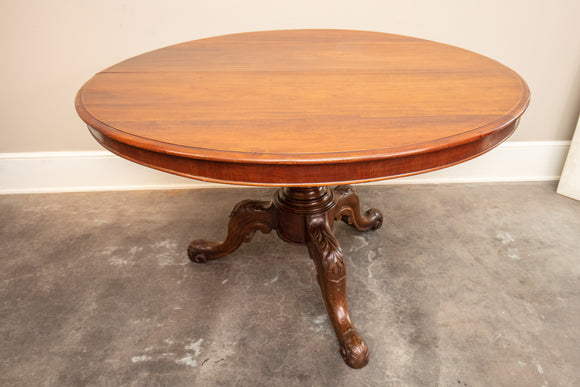 Antique Carved Pedestal Mahogany Dining/Entry Table