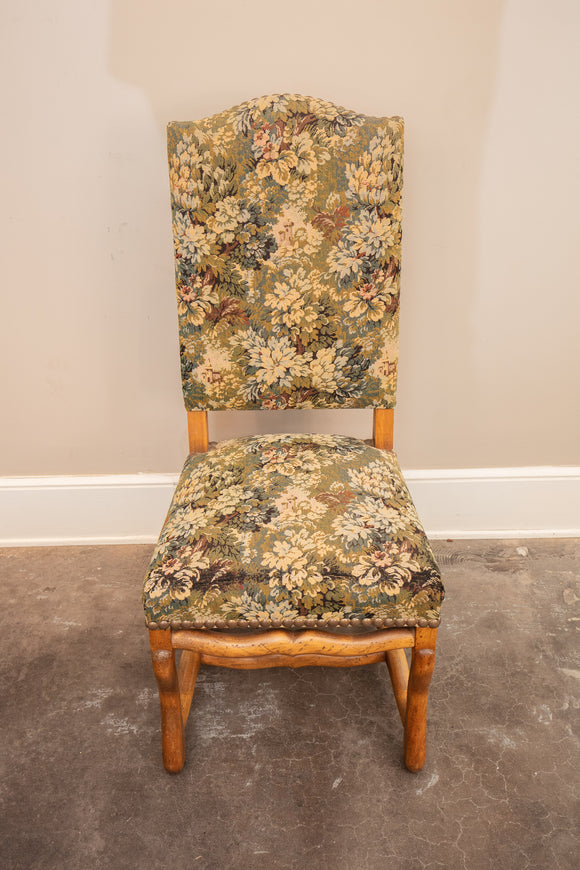 French Upholstered Side Chair with Tapestry Fabric
