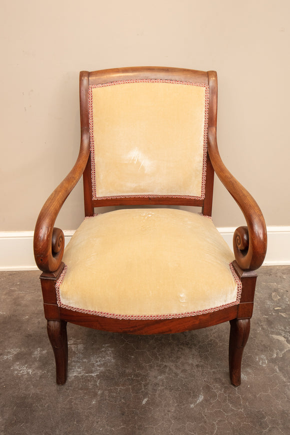 Antique French Rolled Arm Chair Circa 1820s