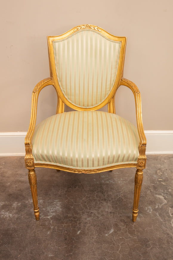Antique George III Gilt Wood Arm Chair