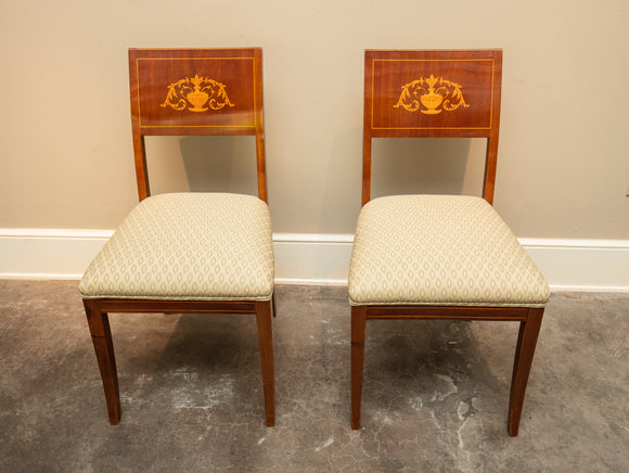 Antique Inlay Side Chair Pair with Upholstered Seat Circa 1820