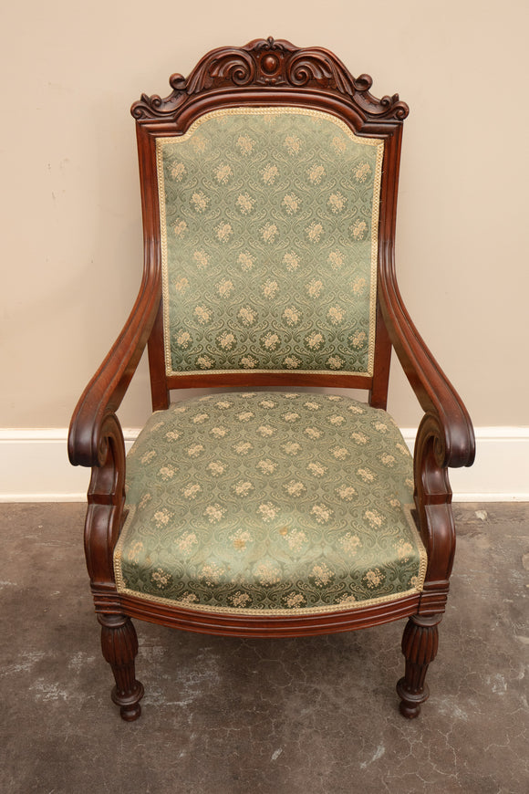 Antique Carved Green Upholstered Arm Chair