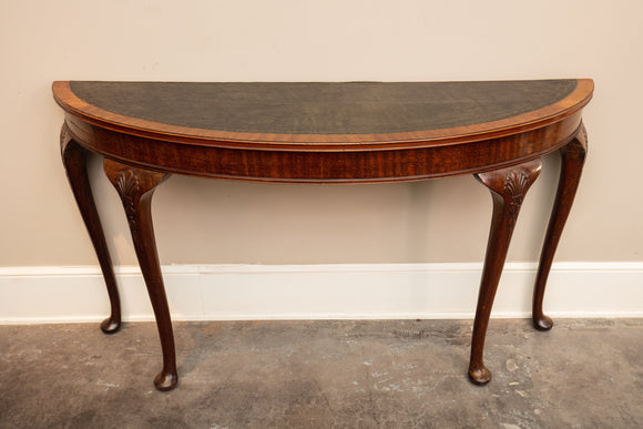 Antique 19th Century English Demilune Mahogany Table with Leather Top