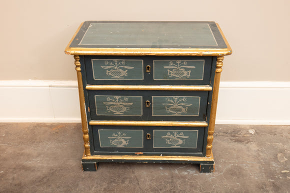 Miniature Chest of Drawers Painted Blue Grey