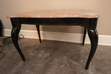 French Style Black Lacquered Table with Pink Marble Top