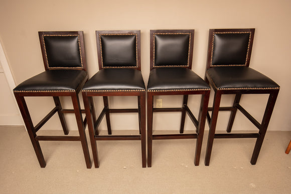 Dark Brown Leather Bar Stool