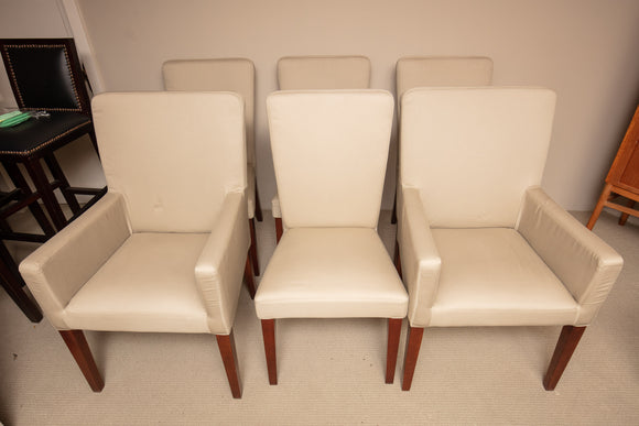 Set of 6 Pottery Barn Off White Upholstered Dining Chairs (Two Arm Chairs and Four Side Chairs)