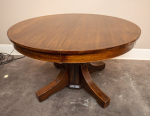 English Inlay Mahogany Pedestal Dining Table with Two Leaves Circa 1900