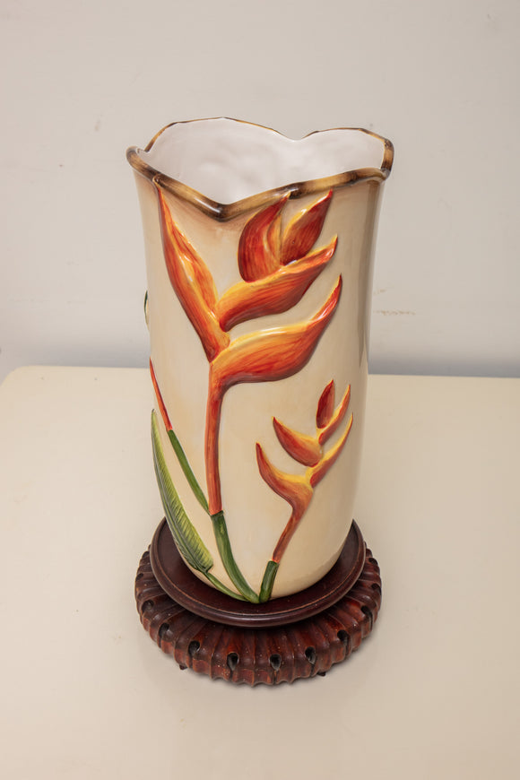Pacific Rim Bird of Paradise Pottery Vase on Stand