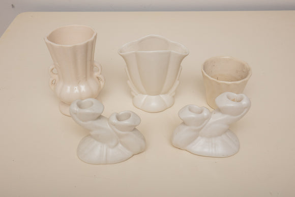 White Pottery Lot of Candlesticks and Vases