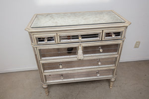 Contemporary Smoky Silvered Mirrored Chest of Drawers