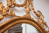 Gilt Beveled Oval Mirror with Floral Accents