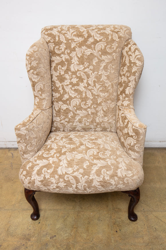 Period Queen Anne Antique Wing Arm Chair with Beige Upholstery