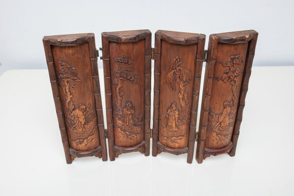 Chinese Carved Bamboo Screen