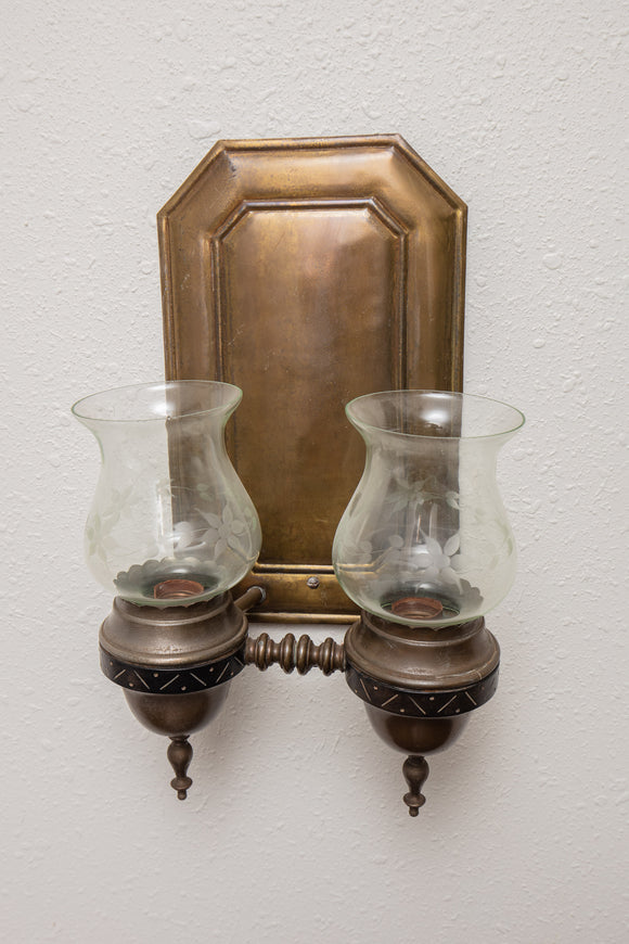 Vintage Brass Electrified Wall Sconce with Hurricanes