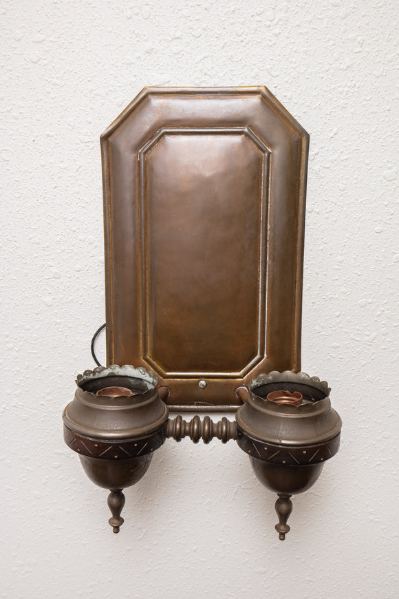 Vintage Brass Electrified Wall Sconce with No Shades