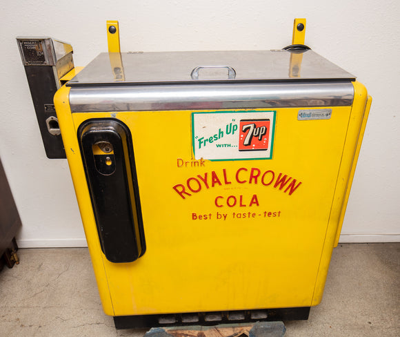 Drink Royal Crown Cola Cooler Machine, Yellow, 7-Up