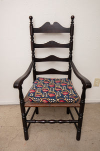 Ladder Back Black Chair with Strawberry Seat
